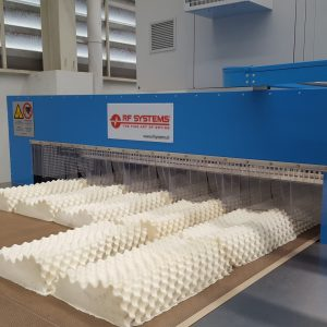 RF drying of latex pillows
